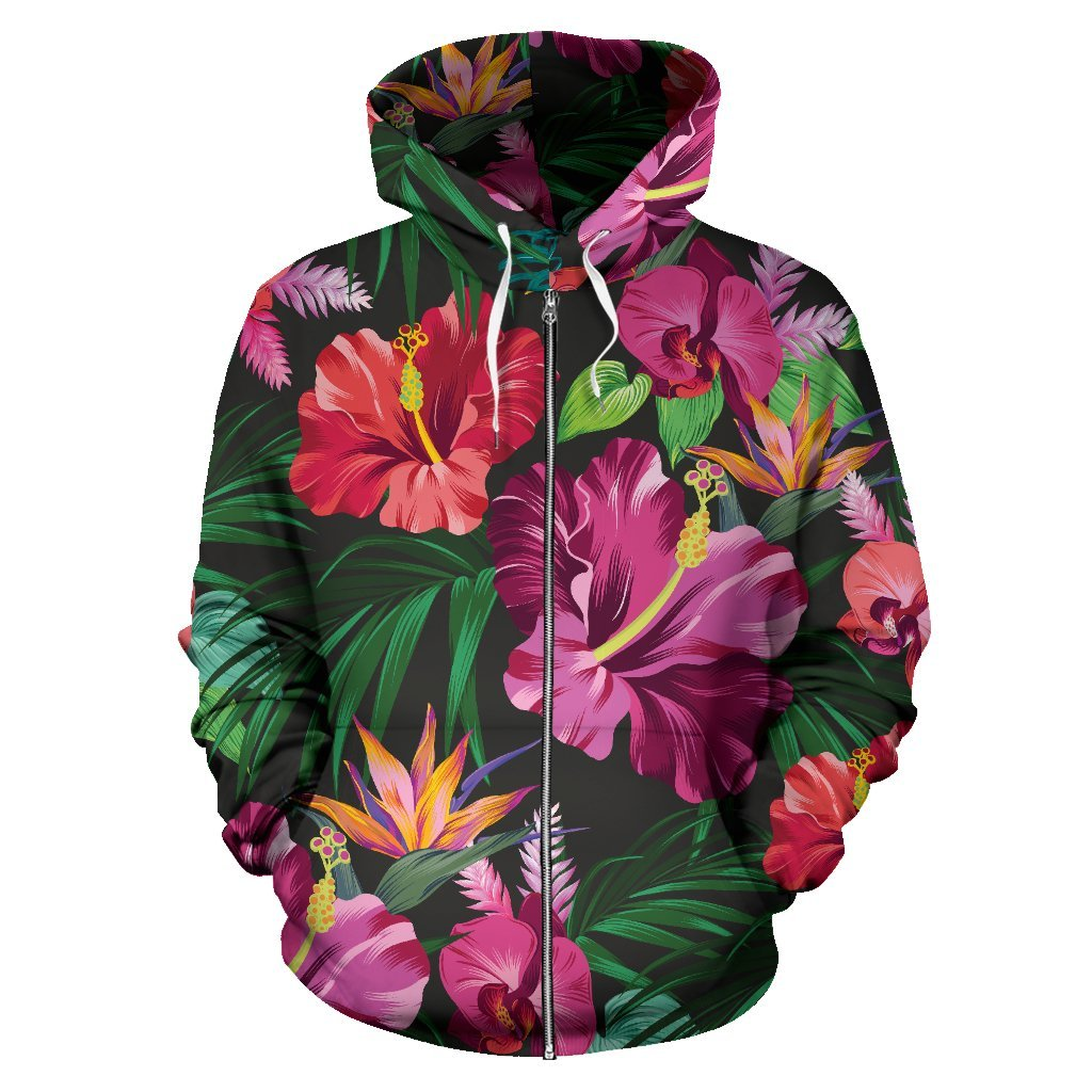 Floral Hibiscus Hawaiian tropical flower All Over Zip Up Hoodie