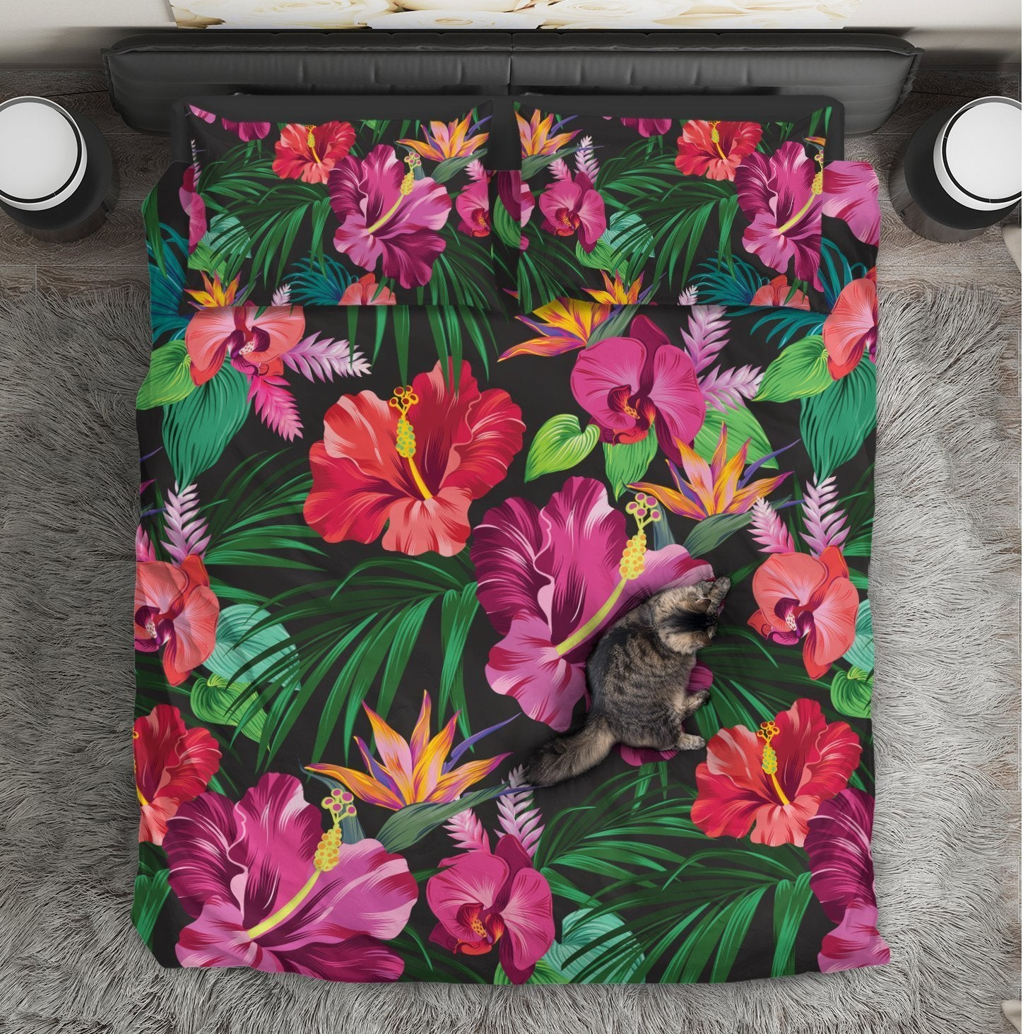 Floral Hibiscus Hawaiian tropical flower Duvet Cover Bedding Set