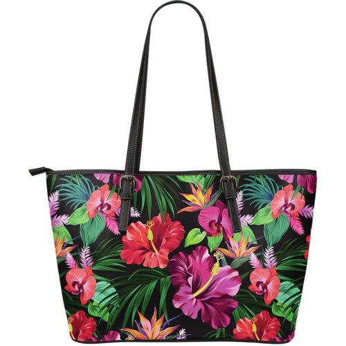 Floral Hibiscus Hawaiian tropical flower Large Leather Tote Bag