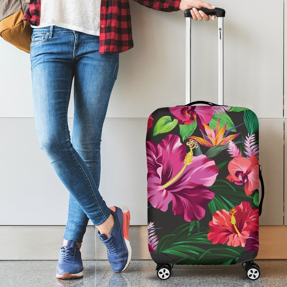 Floral Hibiscus Hawaiian tropical flower Luggage Cover Protector