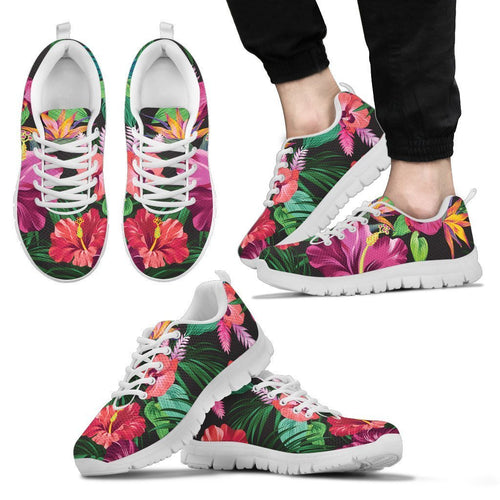 Floral Hibiscus Hawaiian tropical flower Men Sneakers
