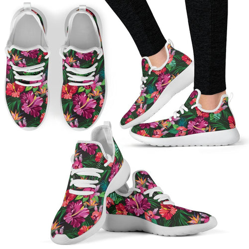 Hawaiian Flower Hibiscus Tropical Mesh Knit Sneakers Shoes