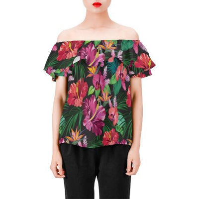 Hawaiian Flower Hibiscus tropical Off Shoulder Ruffle Blouse