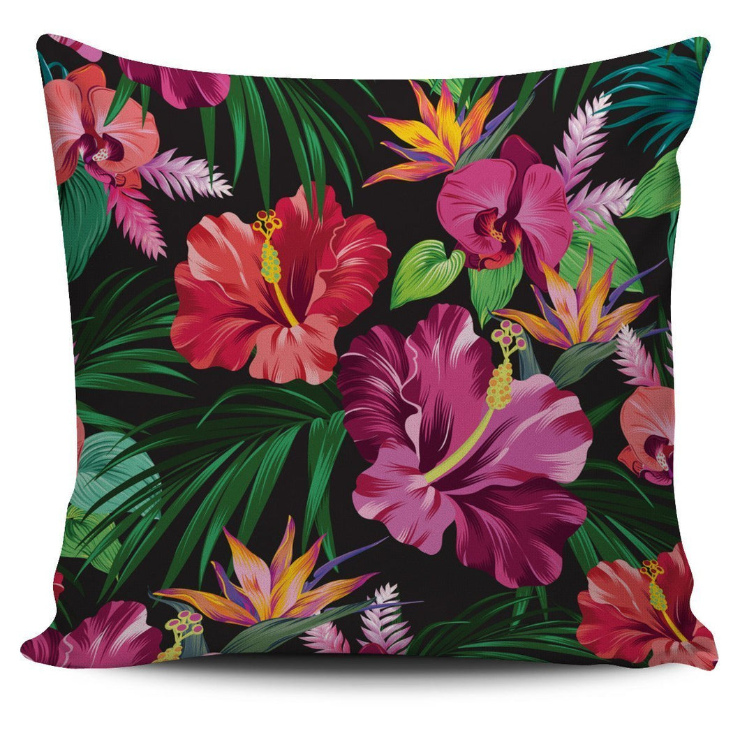 Floral Hibiscus Hawaiian tropical flower Throw Pillow Cover