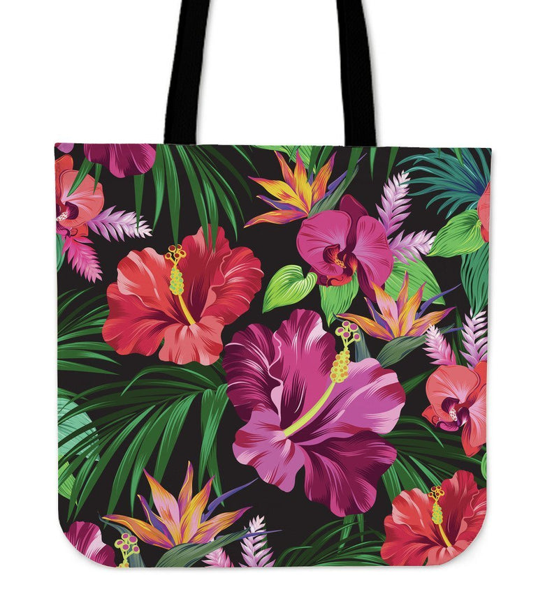 Floral Hibiscus Hawaiian tropical flower Tote bag