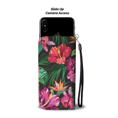 Floral Hibiscus Hawaiian tropical flower Wallet Phone Case