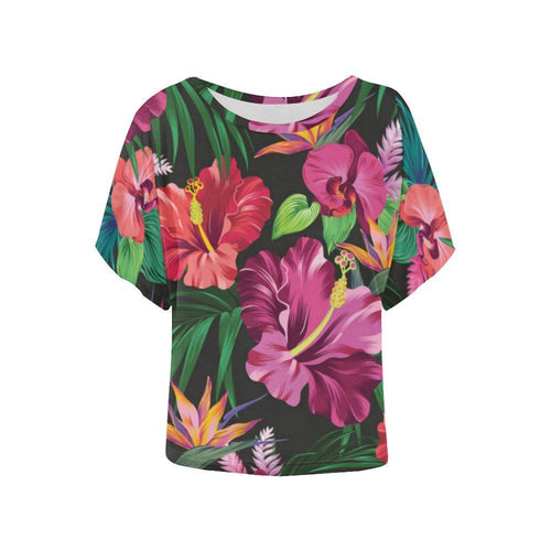 Floral Hibiscus Hawaiian tropical flower Women Batwing Tops Shirt