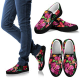 Floral Hibiscus Hawaiian tropical flower Women Canvas Slip On Shoes