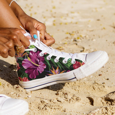 Floral Hibiscus Hawaiian tropical flower Women High Top Canvas Shoes