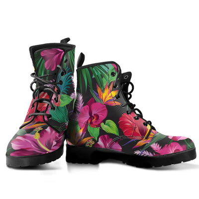 Floral Hibiscus Hawaiian tropical flower Women & Men Leather Boots