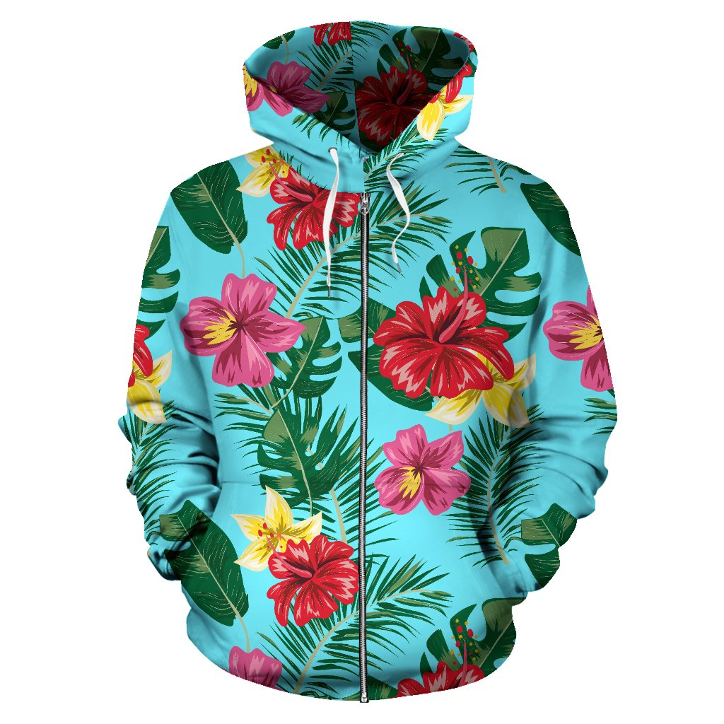 Hibiscus Hawaiian Flower All Over Zip Up Hoodie