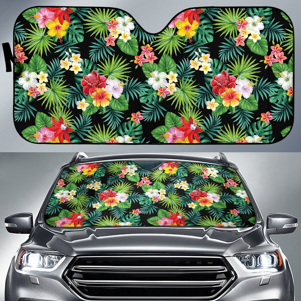 Hibiscus Hawaiian Flower Tropical Car Sun Shade-JorJune