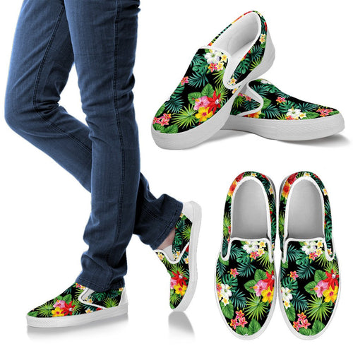 Hibiscus Hawaiian Flower Tropical Men Slip On Shoes