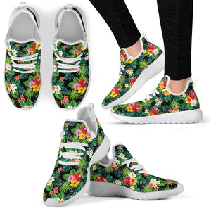Hibiscus Hawaiian Flower Tropical Mesh Knit Sneakers Shoes