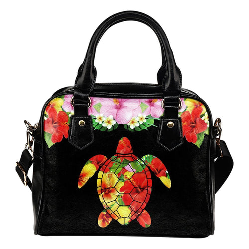Plumeria Hibiscus Floral Hawaiian flowers Leather Shoulder Handbag