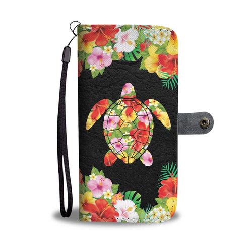 Plumeria Hibiscus Sea turtle Hawaiian Flowers Wallet Phone Case