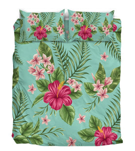Hibiscus Hawaiian Tropical Duvet Cover Bedding Set