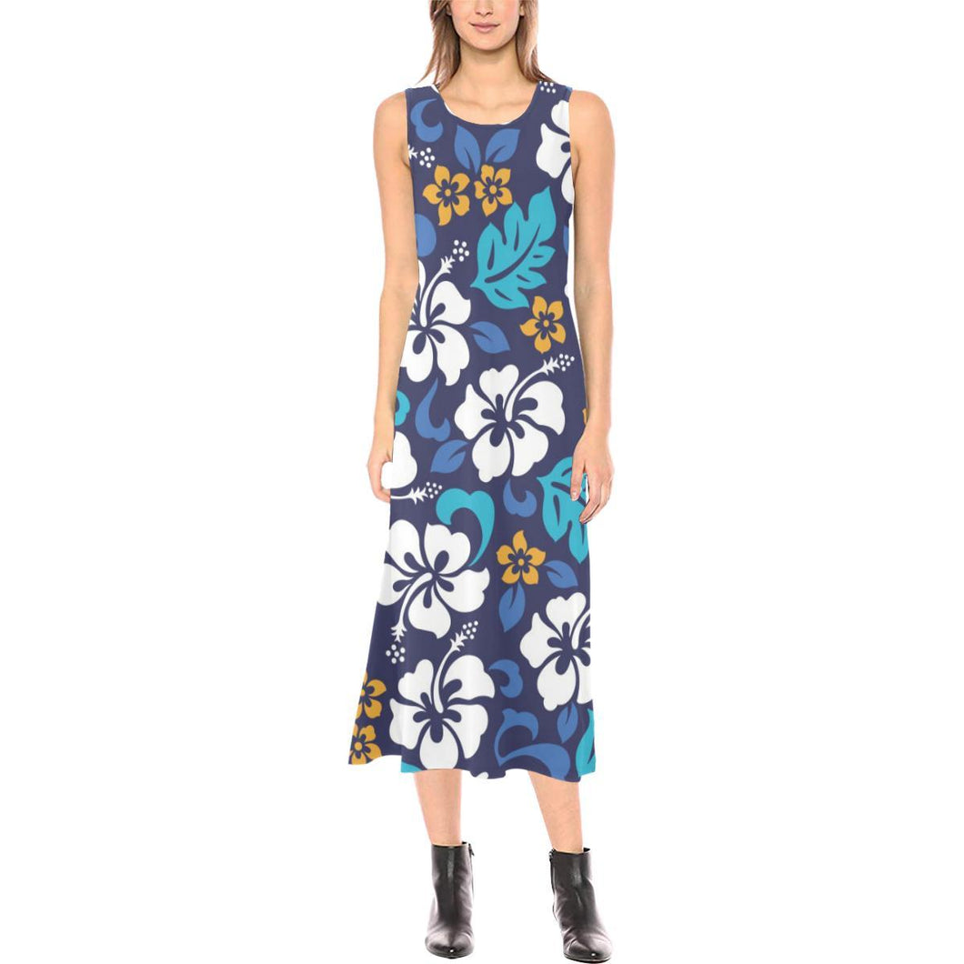 Hibiscus Pattern Print Design HB030 Sleeveless Open Fork Long Dress