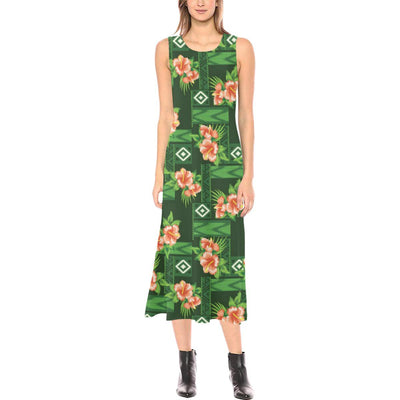 Hibiscus Pattern Print Design HB05 Sleeveless Open Fork Long Dress