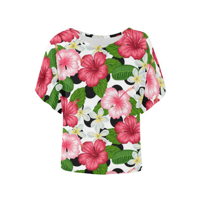 Hibiscus plumeria Hawaiian Flower Women Batwing Tops Shirt
