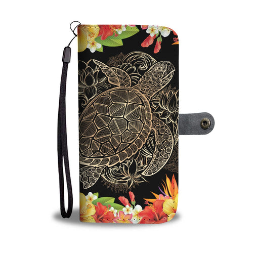 hibiscus Plumeria Hawaiian flowers Sea turtle Wallet Phone Case