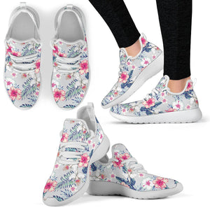 Hibiscus Print Mesh Knit Sneakers Shoes