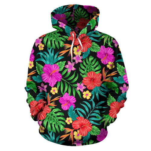 Hibiscus Red Hawaiian Flower All Over Print Hoodie
