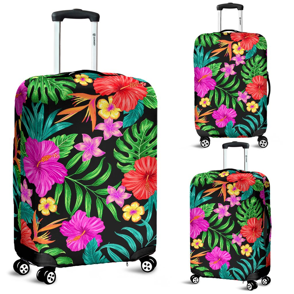 Hibiscus Red Hawaiian Flower Luggage Cover Protector