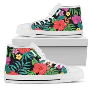 Hibiscus Red Hawaiian Flower Men High Top Shoes