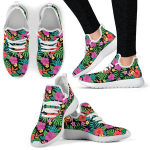Hibiscus Red Hawaiian Flower Mesh Knit Sneakers Shoes