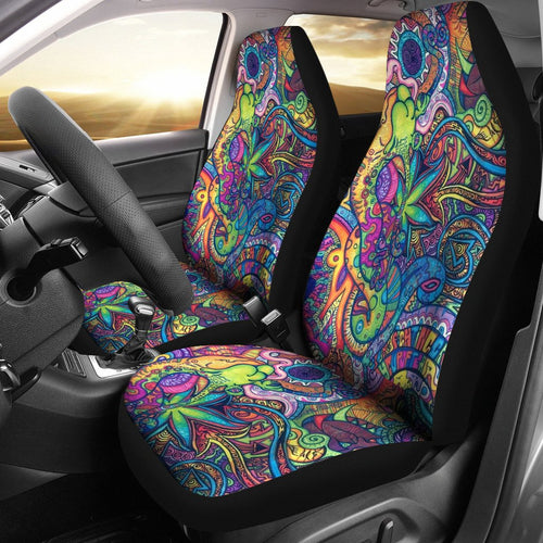 Hippie Dippie Design Themed Pattern Universal Fit Car Seat Covers
