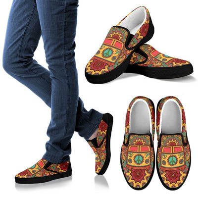 Hippie Van Mandala Women Canvas Slip On Shoes