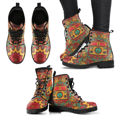Hippie Van Mandala Women & Men Leather Boots
