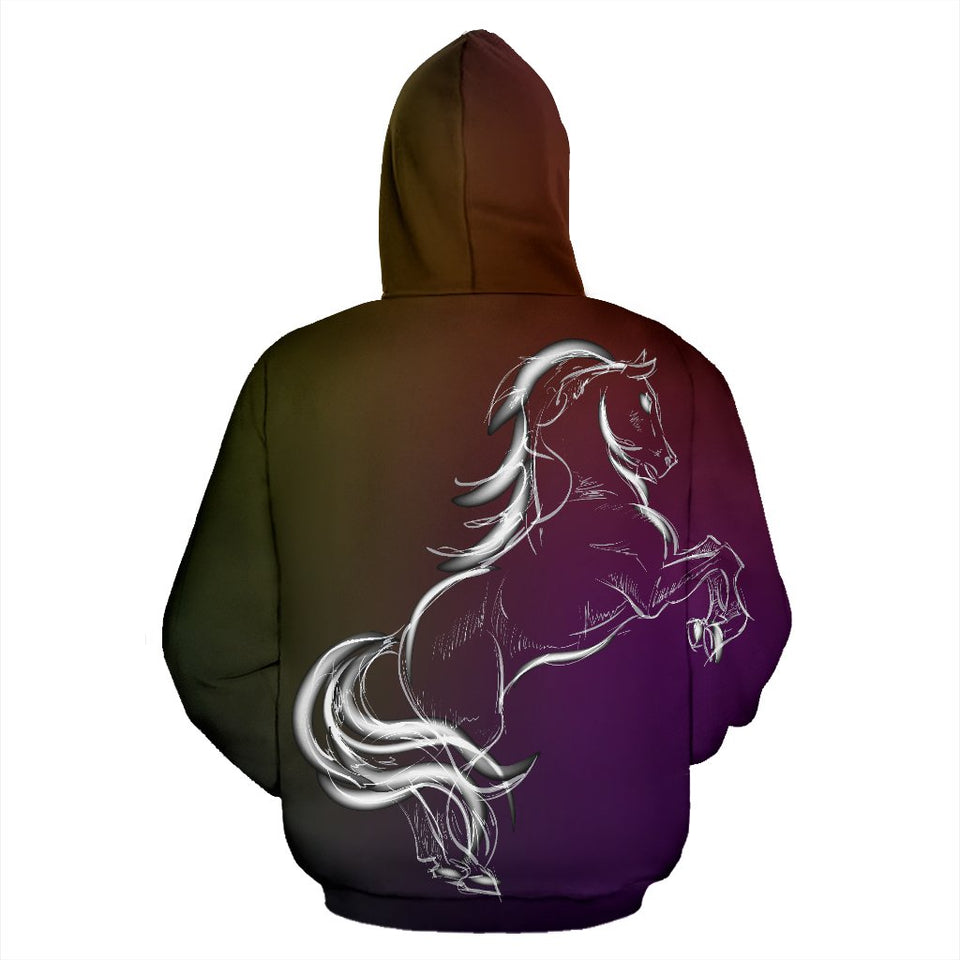 Horse Colorful hand draw All Over Zip Up Hoodie