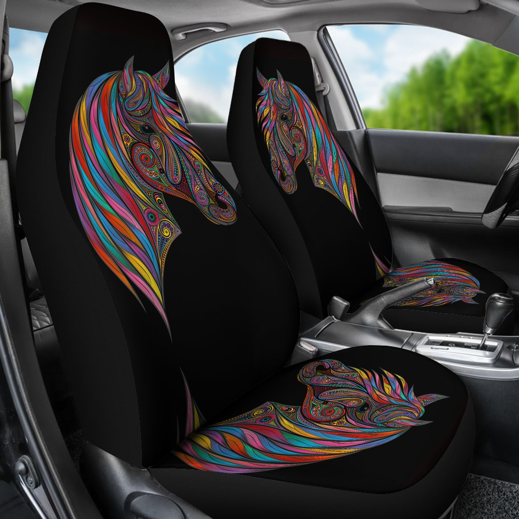 Horse Colorful Universal Fit Car Seat Covers Jorjune