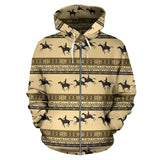 Horse Pattern Prnt All Over Zip Up Hoodie