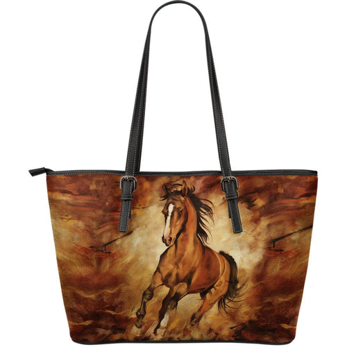 Horse water color paint Large Leather Tote Bag