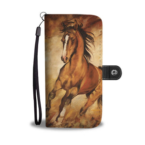 Horse water color paint Wallet Phone Case
