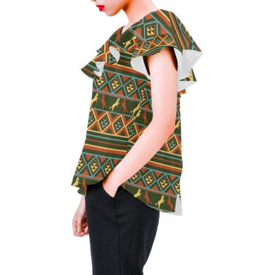 Horse Western Pattern Off Shoulder Ruffle Blouse
