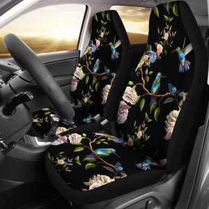 Hummingbird Flower Themed Print Universal Fit Car Seat Covers