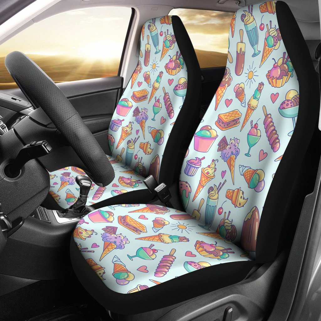 Ice Cream Pattern Print Design IC02 Universal Fit Car Seat Covers-JorJune