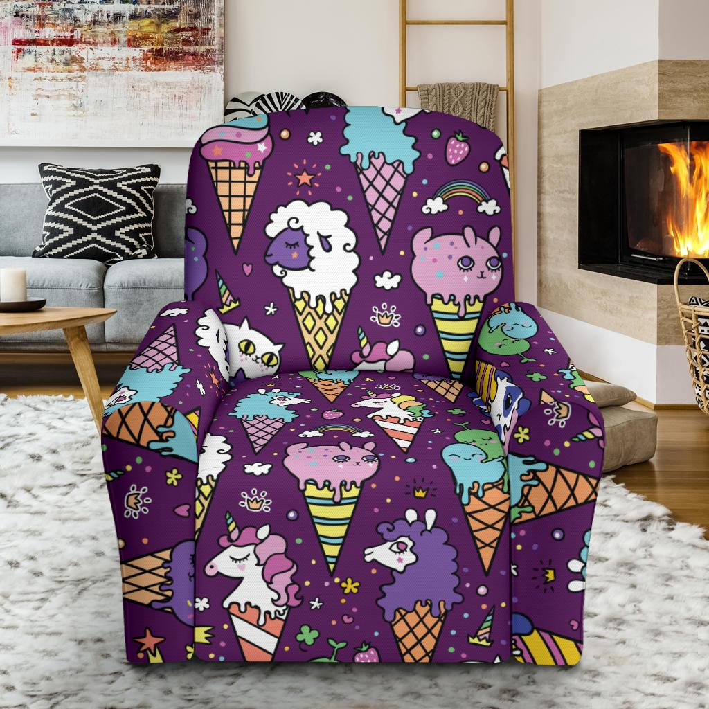 Ice Cream Pattern Print Design IC07 Recliner Slipcover-JORJUNE.COM
