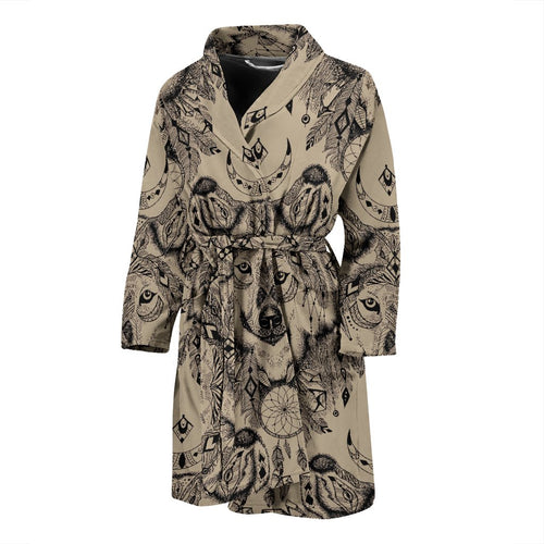Indian Boho Wolf Men Bath Robe