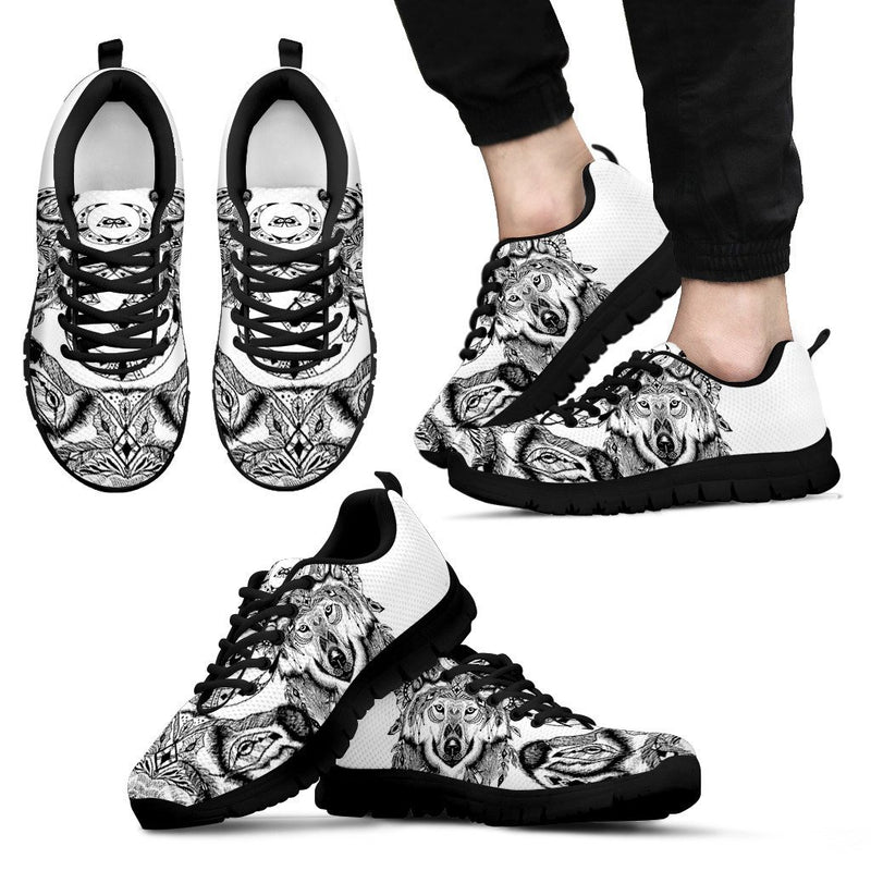 Indian Boho Wolf Men Sneakers