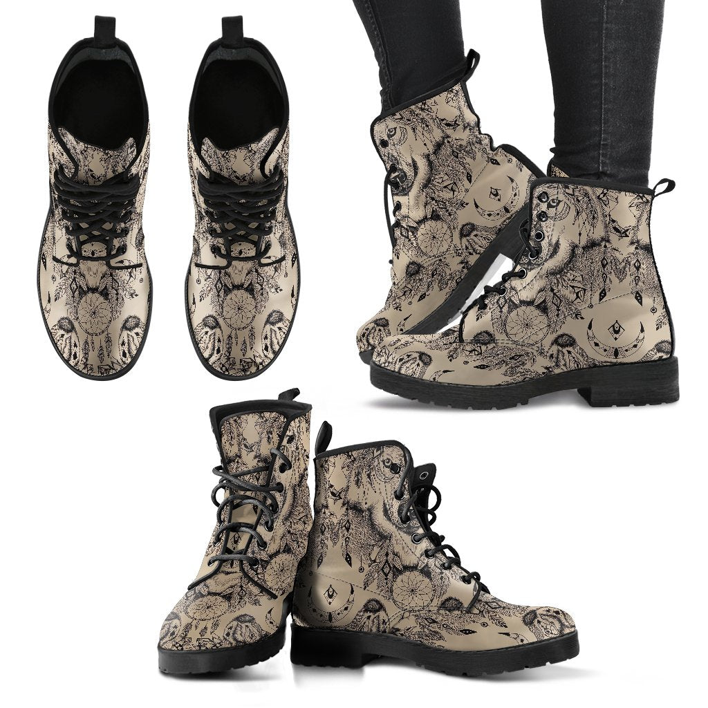 Indian Boho Wolf Women Leather Boots