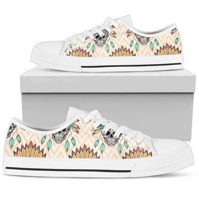 Indian Skull Pattern Men Low Top Shoes