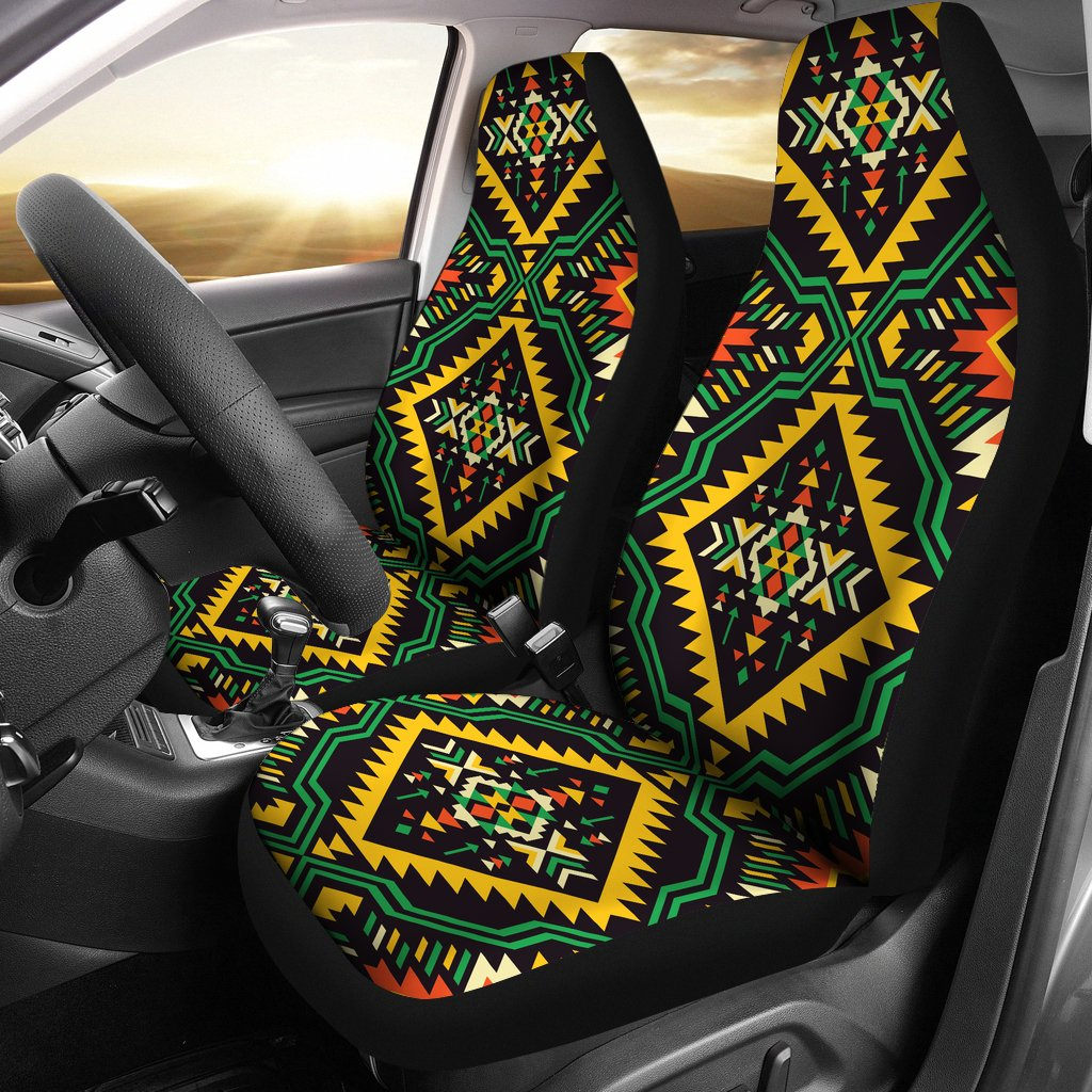 Kente Green Design African Print Universal Fit Car Seat Covers
