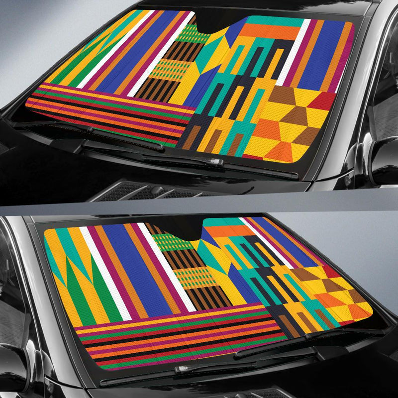 Kente Pattern Print Design 03 Car Sun Shades-JORJUNE.COM