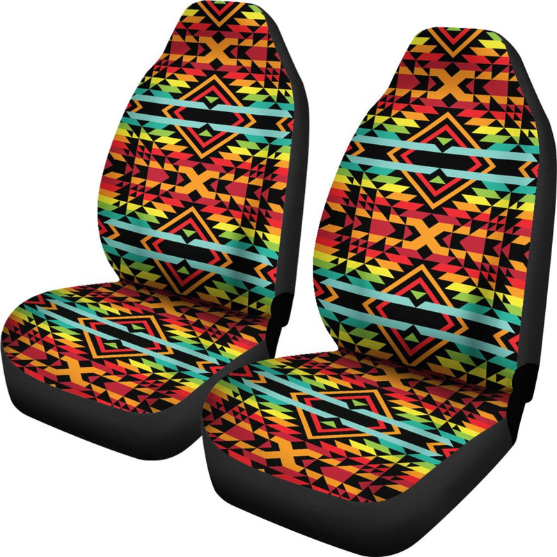 Kente Red Design African Print Universal Fit Car Seat Covers