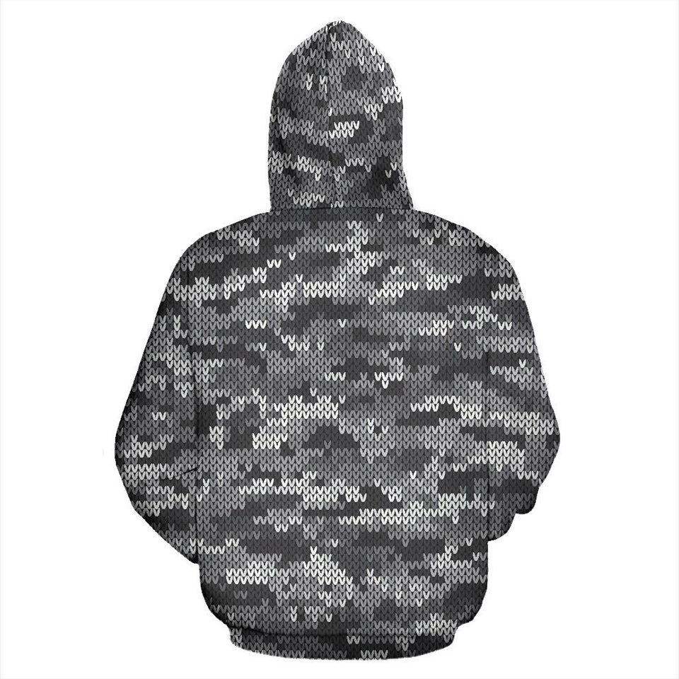 Knit Black White Camo Camouflage Print All Over Zip Up Hoodie